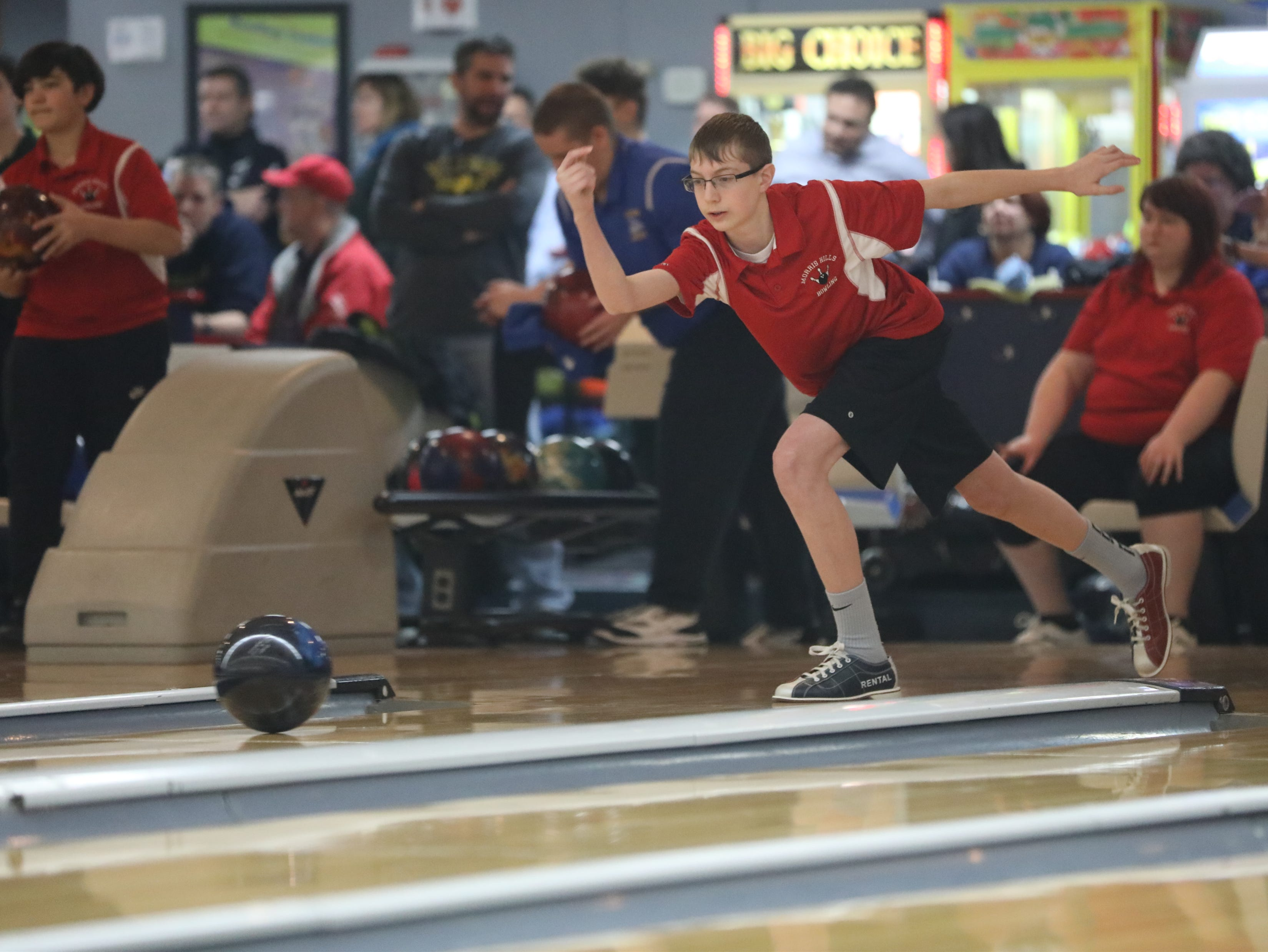 Alex Furman, of Morris Hills, competes at the Morris County Bowling Tournament, in Rockaway. Thursday, January 24, 2019