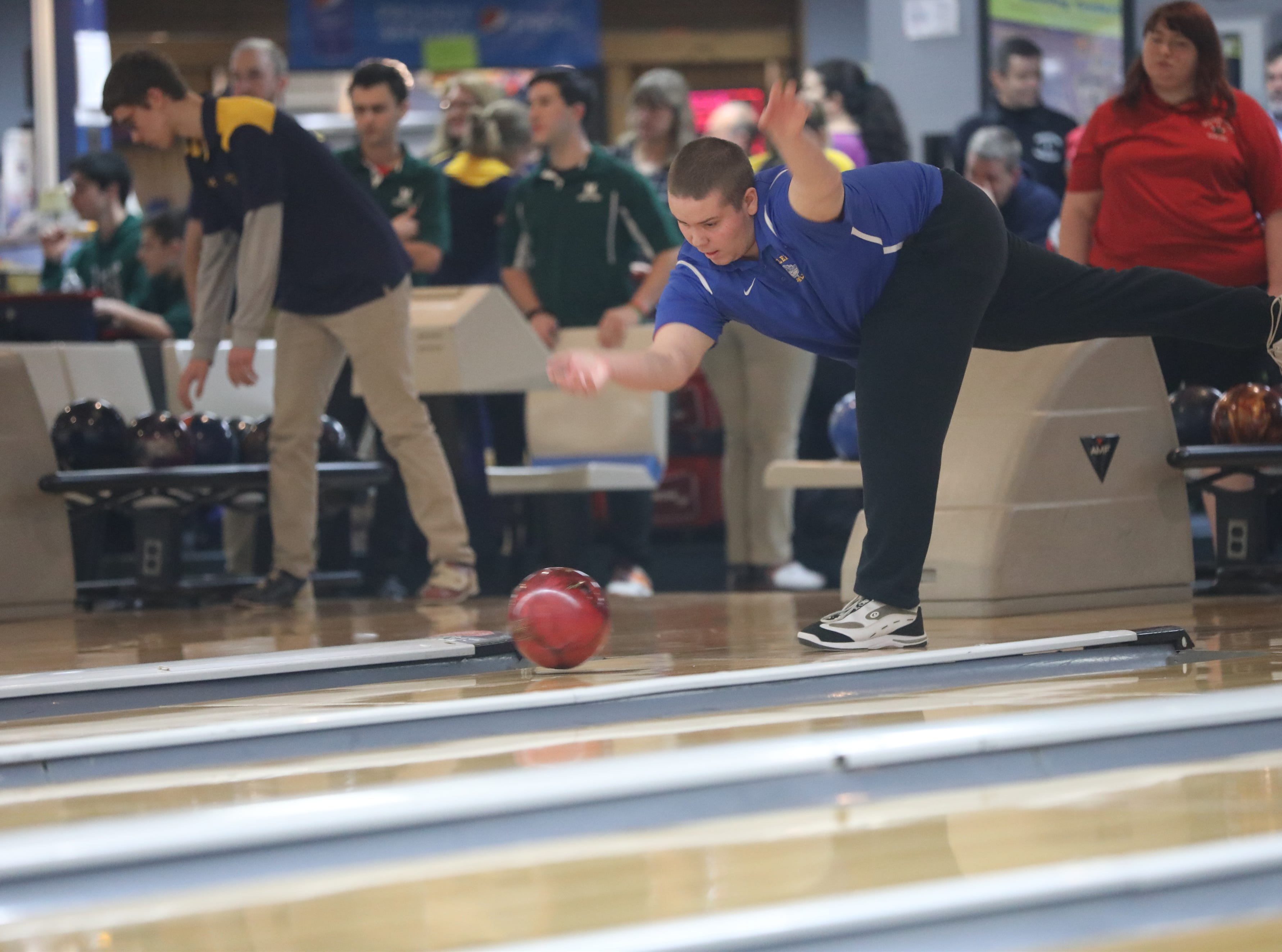 Brandin Hinchman, of Butler, competes at the Morris County Bowling Tournament, in Rockaway. Thursday, January 24, 2019