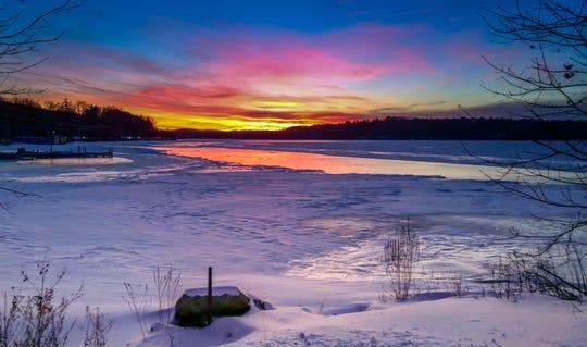A Budd Lake winter sunset . January 2014.