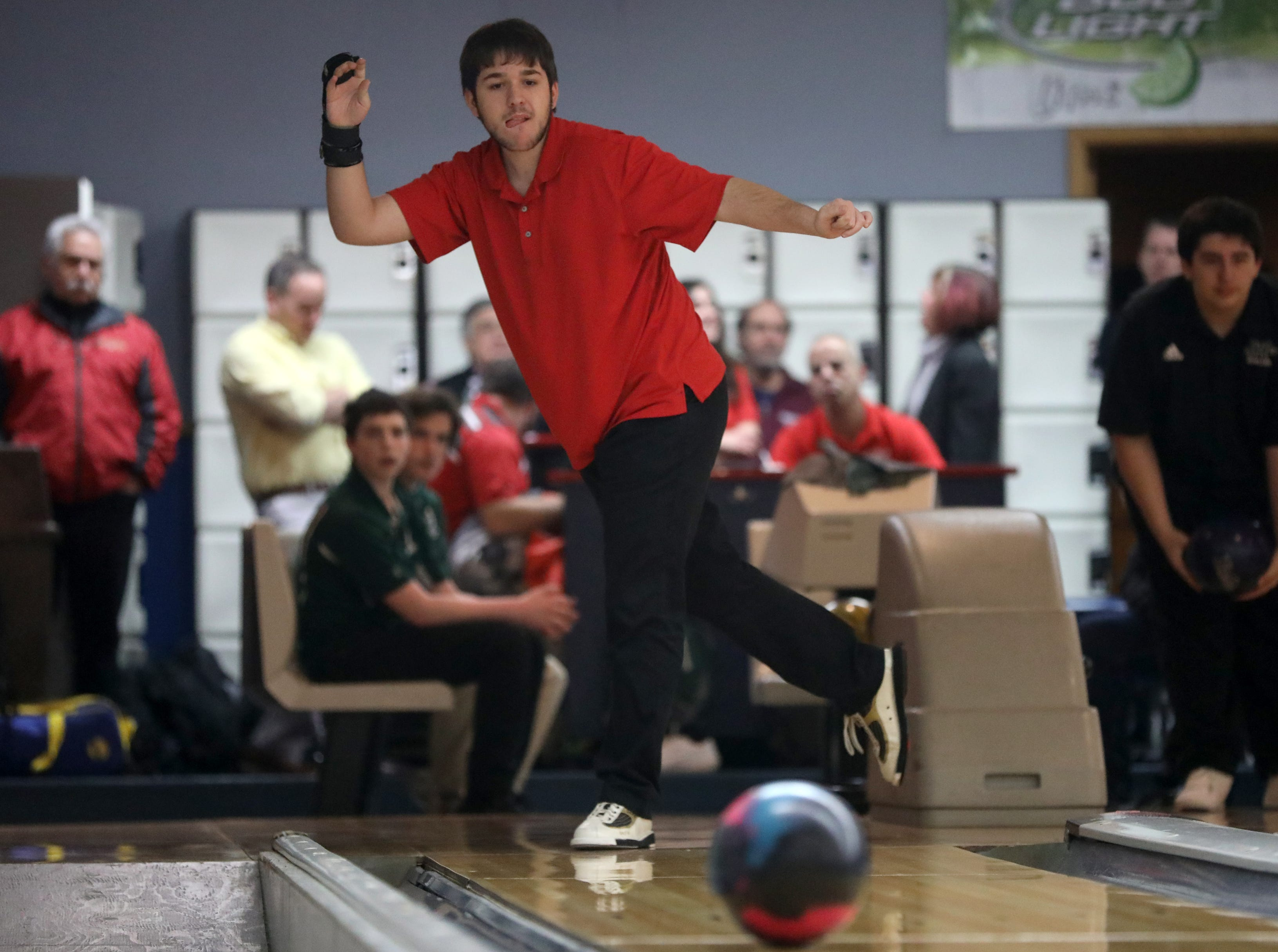 Max Di Alfonso, of Mt. Olive, competes in the Morris County Bowling Tournament. Thursday, January 24, 2019