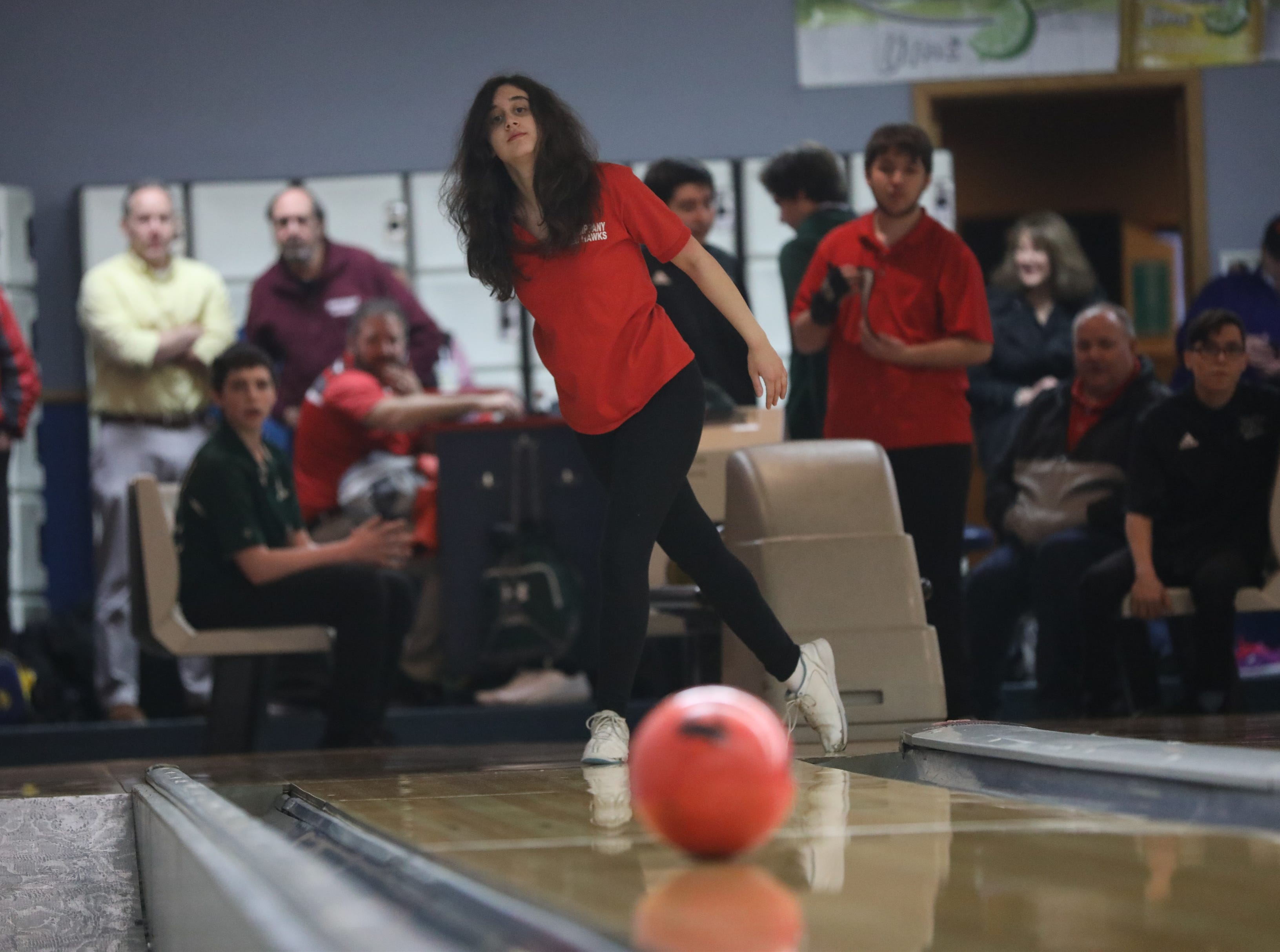 Lauren Marks, of Mt. Olive, competes in the Morris County Bowling Tournament. Thursday, January 24, 2019