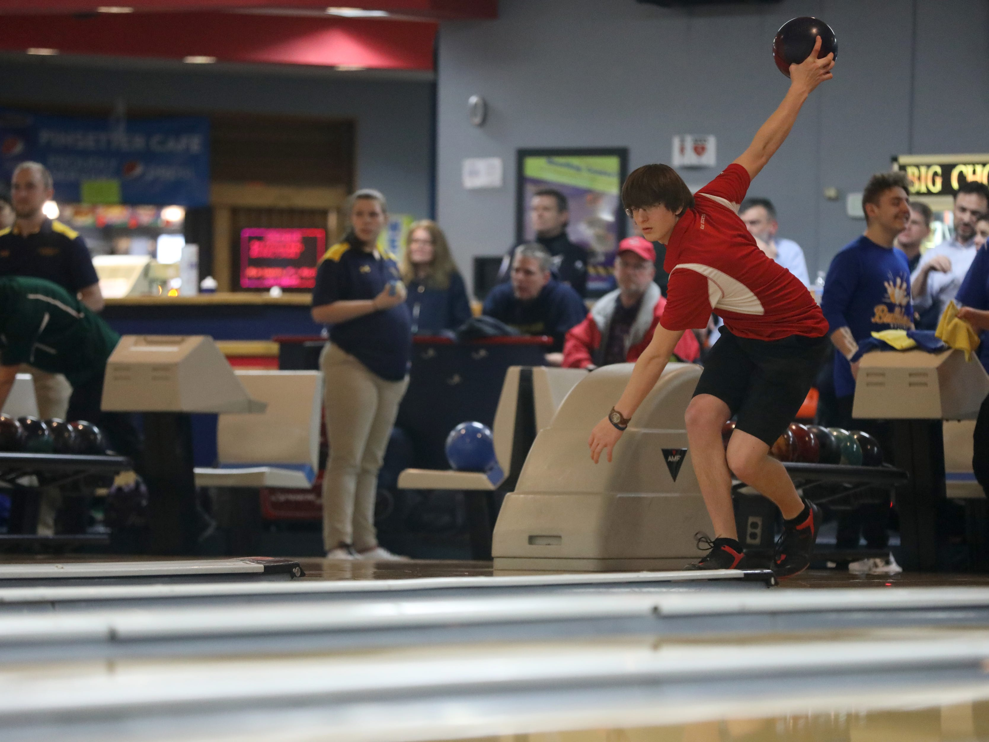 Morris Hills senior Aaron Wasilas competes at the Morris County Bowling Tournament, in Rockaway. Thursday, January 24, 2019