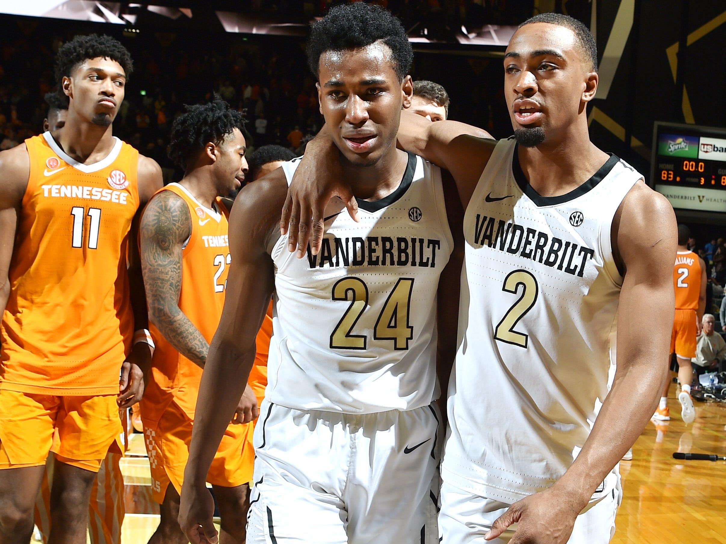 Vanderbilt forward Aaron Nesmith (24) and Vanderbilt guard/forward Joe Toye (2) react to the loss at Memorial Gym in Nashville, Tenn., Wednesday, Jan. 23, 2019.