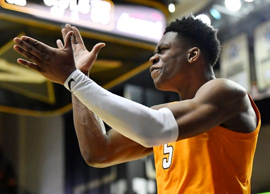 UT guard Admiral Schofield (5) celebrates a foul in overtime at Memorial Gym in Nashville, Tenn., Wednesday, Jan. 23, 2019.
