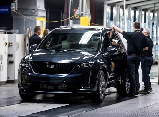 The Cadillac XT6 is unveiled during an event at GM's Spring Hill plant Thursday, January 24, 2019.