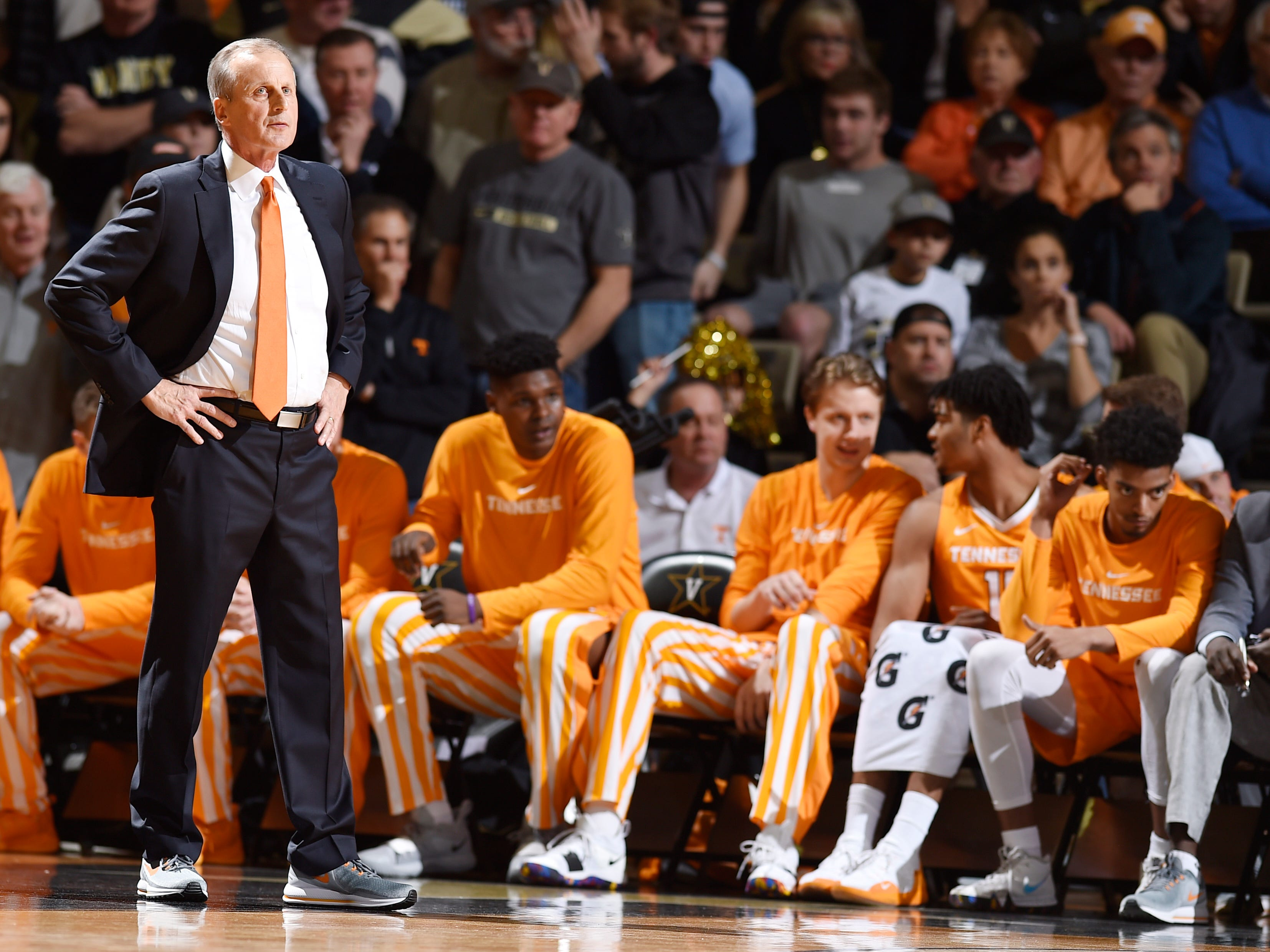 UT head coach Rick Barnes watches his team during the second half at Memorial Gym in Nashville, Tenn., Wednesday, Jan. 23, 2019.