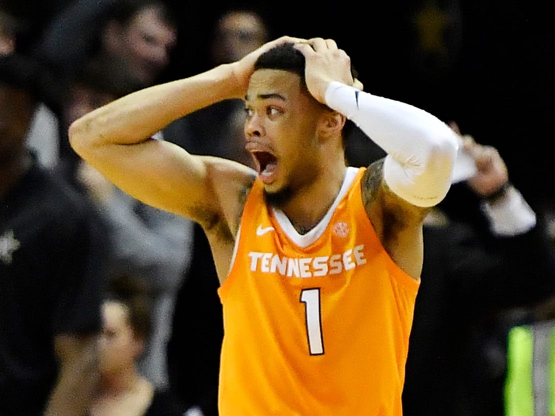 UT guard Lamonte Turner (1) reacts to a foul in overtime at Memorial Gym in Nashville, Tenn., Wednesday, Jan. 23, 2019.