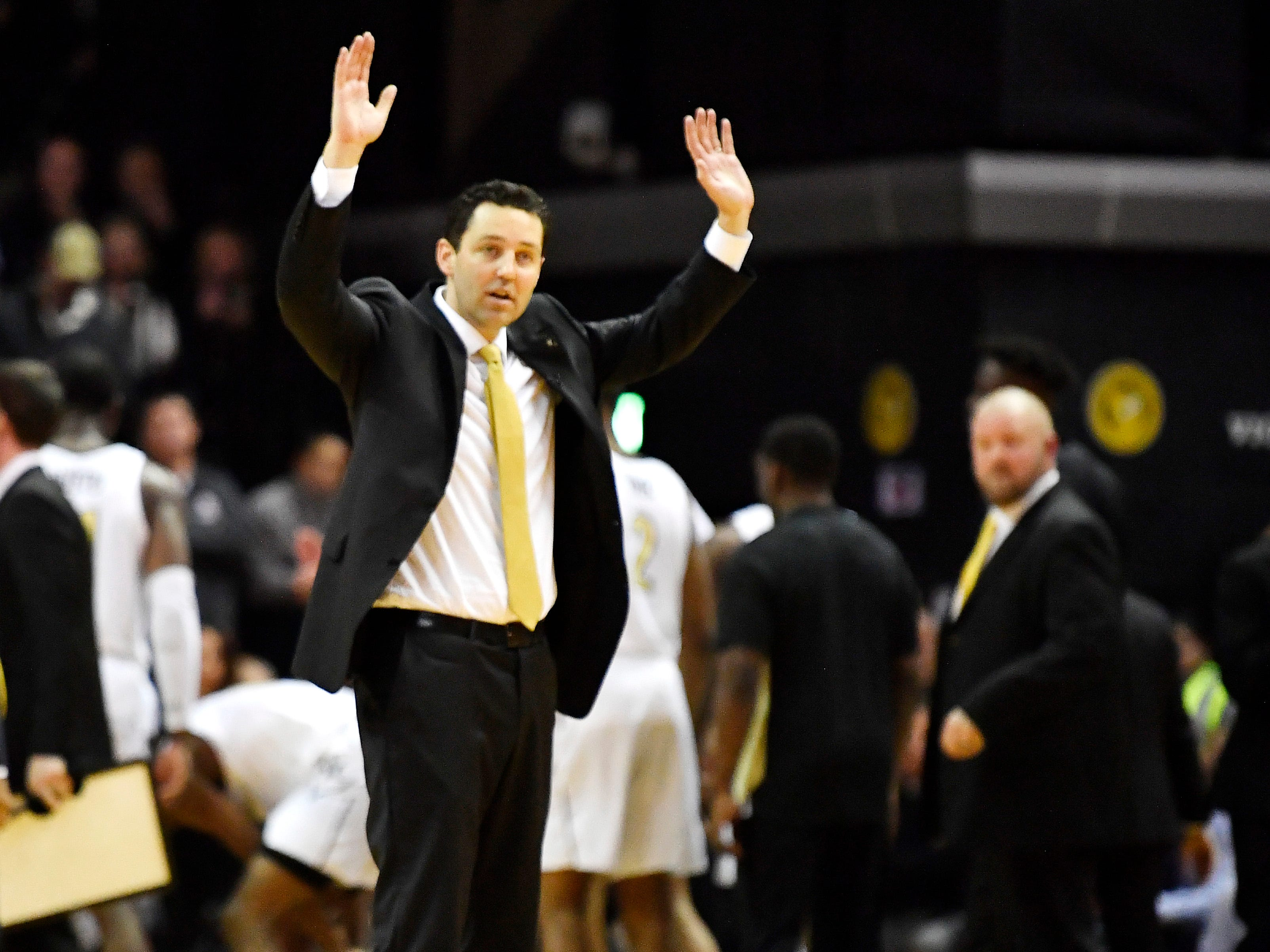 Vanderbilt head coach Bryce Drew argues a call during the second half at Memorial Gym in Nashville, Tenn., Wednesday, Jan. 23, 2019.