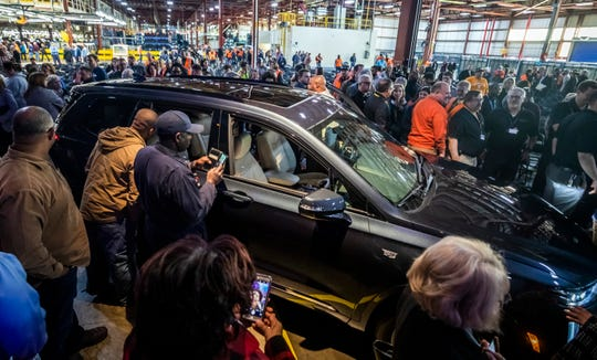 The Cadillac XT6 is unveiled during an event at GM's Spring Hill on Jan. 24.