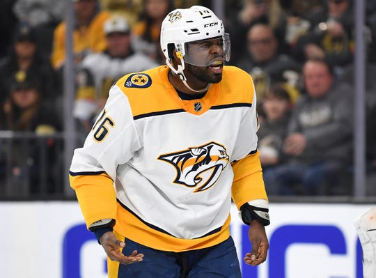Jan 23, 2019; Las Vegas, NV, USA; Nashville Predators defenseman P.K. Subban (76) reacts after a play during the second period against the Vegas Golden Knights at T-Mobile Arena.