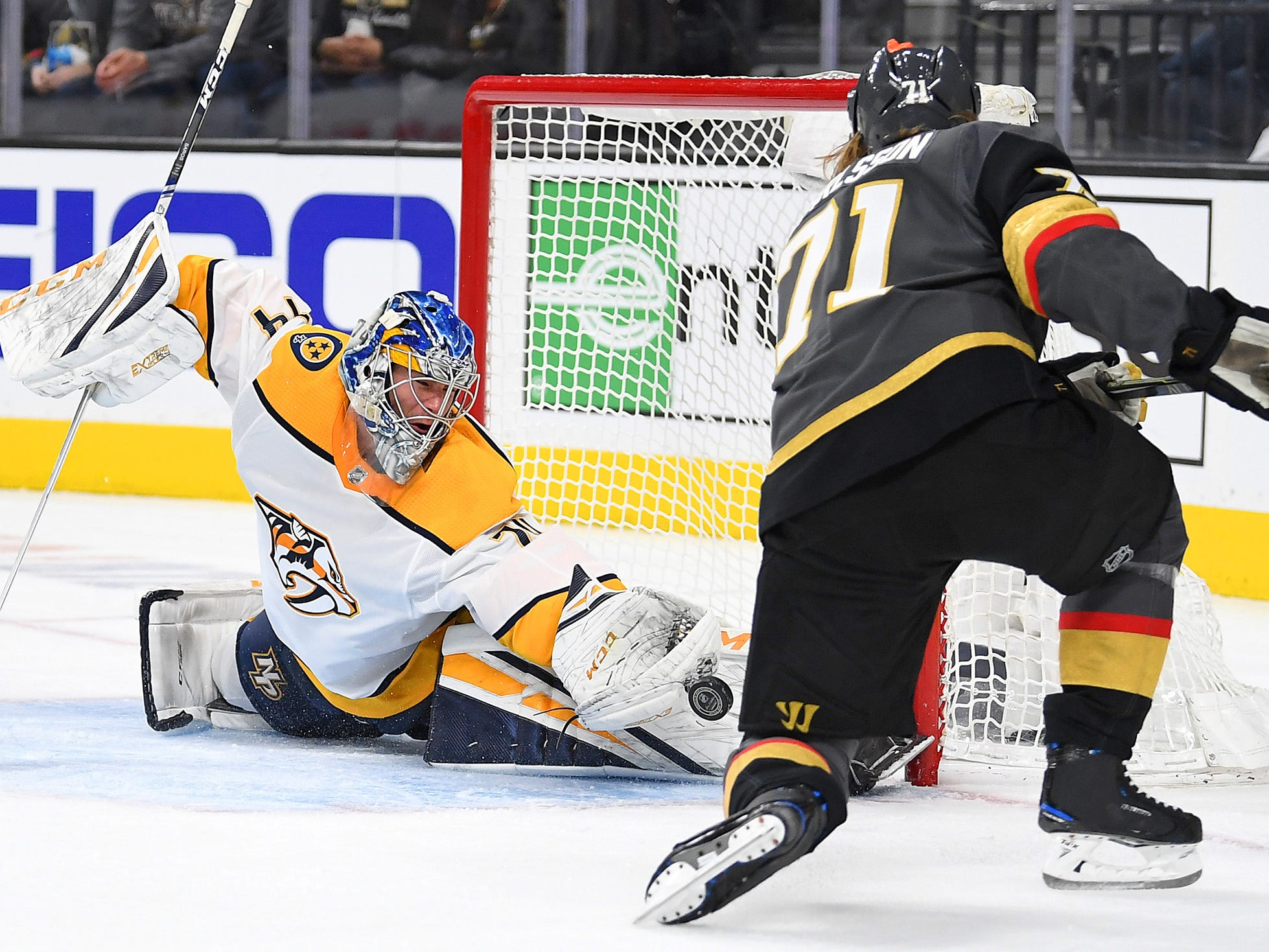 Nashville Predators goaltender Juuse Saros (74) makes a save on a second period shot by Vegas Golden Knights center William Karlsson (71) at T-Mobile Arena.