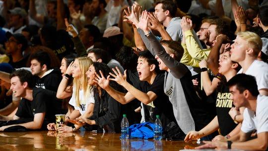Vanderbilt fans react as the team leads UT during the second half at Memorial Gym in Nashville, Tenn., Wednesday, Jan. 23, 2019.
