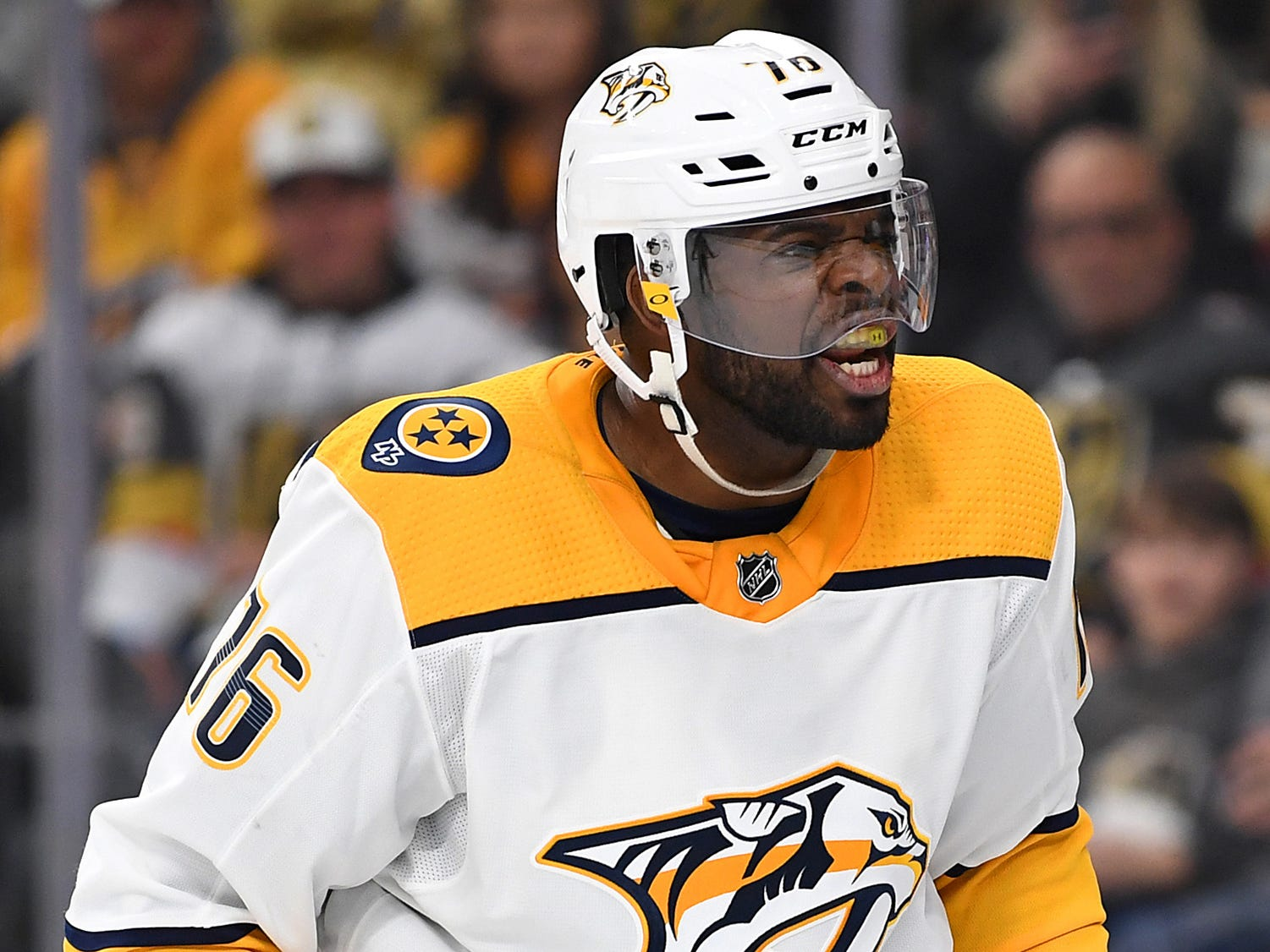 Jan 23, 2019: Predators 2, Golden Knights 1 -- Nashville Predators defenseman P.K. Subban (76) reacts after a play during the second period against the Vegas Golden Knights at T-Mobile Arena.