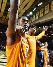 UT guard Jordan Bone (0) celebrates the overtime win over Vanderbilt at Memorial Gym in Nashville, Tenn., Wednesday, Jan. 23, 2019.