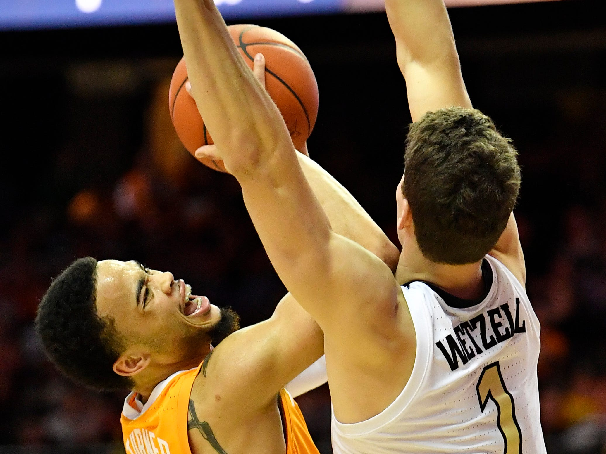 UT guard Lamonte Turner (1) is fouled as he shoots during the second half at Memorial Gym in Nashville, Tenn., Wednesday, Jan. 23, 2019.