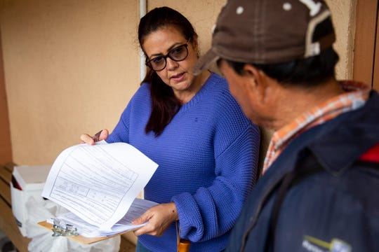 Adriana Gil, who works as a rural advocate at the Shelter for Abused Women & Children, helps a man fill out a survey during the annual point-in-time homeless count conducted by the Hunger and Homeless Coalition of Collier County at Guadalupe Social Services in Immokalee on Thursday, Jan. 24, 2019.