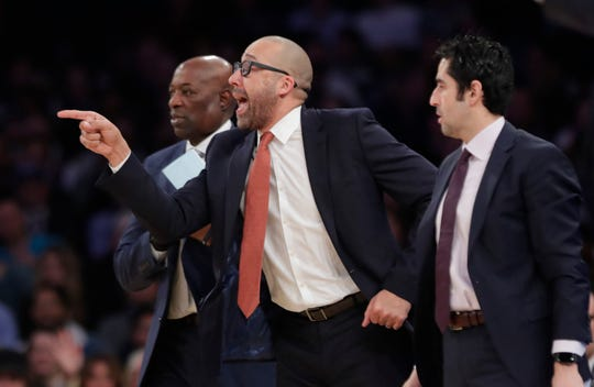 New York Knicks coach David Fizdale reacts to a technical foul during the first half of the team's NBA basketball game against the Houston Rockets on Wednesday, Jan. 23, 2019, in New York.