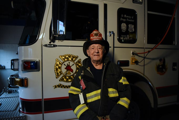 John Kooreman, is a 92-year-old firefighter active in Preakness Volunteer Fire Co. 4 in Wayne, NJ. Kooreman has been a firefighter for a total of 75 years in three Passaic County towns. Kooreman is shown suited up at the Preakness Volunteer Fire Co. 4 in Westwood on Thursday January 24, 2019.