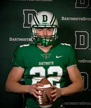 West Milford senior Zack Milko, seen here donning a Dartmouth College football uniform, announced his commitment to the Ivy League school on Thursday morning.
