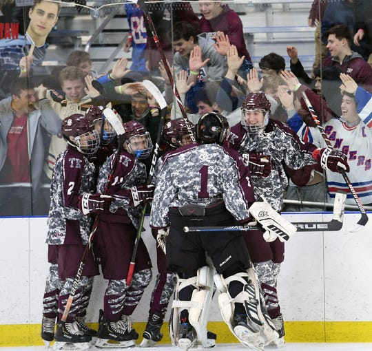 Don Bosco vs. St. Joe's in the Bergen County ice hockey final at the Ice Vault in Wayne on Wednesday, January 23, 2019. (right) DB #13 Will Fortescue celebrates after scoring in the first period.