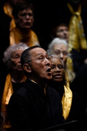 Wesley Matsui of Teaneck sings with the Teaneck Community Chorus during a rehearsal on Sunday, Jan. 20, 2019. The chorus is celebrating their 20th anniversary this year.