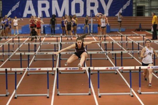 Sara Vandenassem runs the second leg of the Ridgewood 55 meter hurdles relay team at the Bergen County Relays.  Wednesday, January 23, 2019