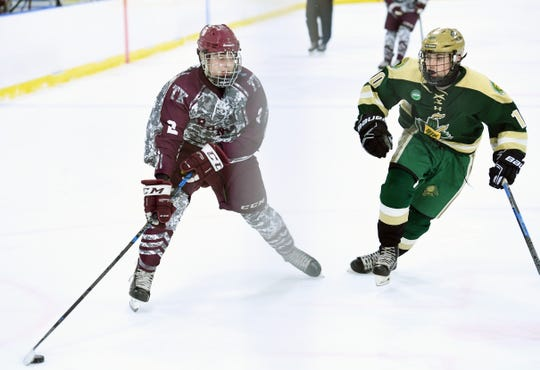 Don Bosco vs. St. Joe's in the Bergen County ice hockey final at the Ice Vault in Wayne on Wednesday, January 23, 2019. DB #2 Liam McLinskey tries to get past SJ #10 Dean Tobin in the second period.