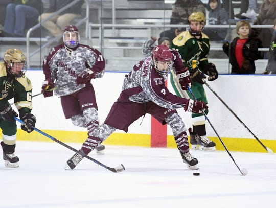 Don Bosco vs. St. Joe's in the Bergen County ice hockey final at the Ice Vault in Wayne on Wednesday, January 23, 2019. (center) DB #2 Liam McLinskey.