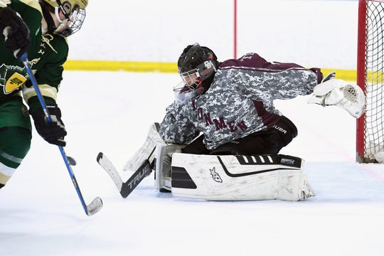 Don Bosco vs. St. Joe's in the Bergen County ice hockey final at the Ice Vault in Wayne on Wednesday, January 23, 2019. DB #1 GK Max Schwarz makes a save in the first period.