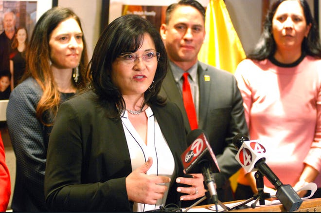 New Mexico State University research director Karen Trujillo of Las Cruces speaks as she is announced as the new as the new Public Education Department secretary at a news conference in Santa Fe on Thursday. Trujillo was named to the Cabinet-level position as the new administration of Democratic Gov. Michelle Lujan Grisham embarks on an overhaul of student testing and teacher evaluations.