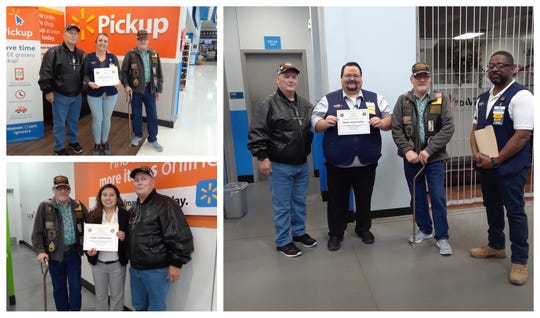 Vietnam Veteran Chaplain Lawrence Orvis, chapter president Bruce Fonnest presented certificates of appreciation to local Walmart stores for supporting food drives in 2018. Clockwise, Walmart store #5155 manager Deanna Leyda, Walmart store #4601 manager David Bufkin and Walmart store #5782 manager Ida Delgado.