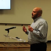 K-12 Accounting Co-CEO Bryan Runyan presents during a special Alamogordo Public Schools Board of Education meeting Jan. 23.