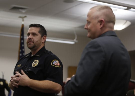 Bloomfield Police Interim Chief Randon Matthews talks about the newly selected police chief David Karst Wednesday during a Bloomfield City Council meeting.
