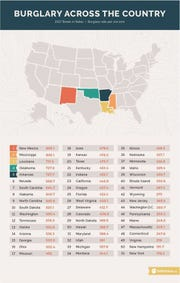 Chart from SafeHome.org  shows burglary rates across the country.