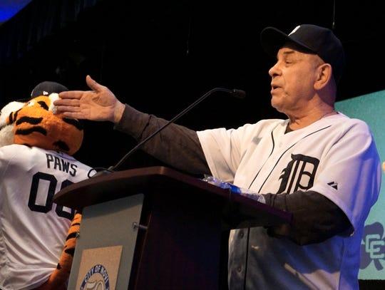 Novi Mayor Bob Gatt welcomes the Detroit Tigers to the Novi Civic Center on Jan. 24.