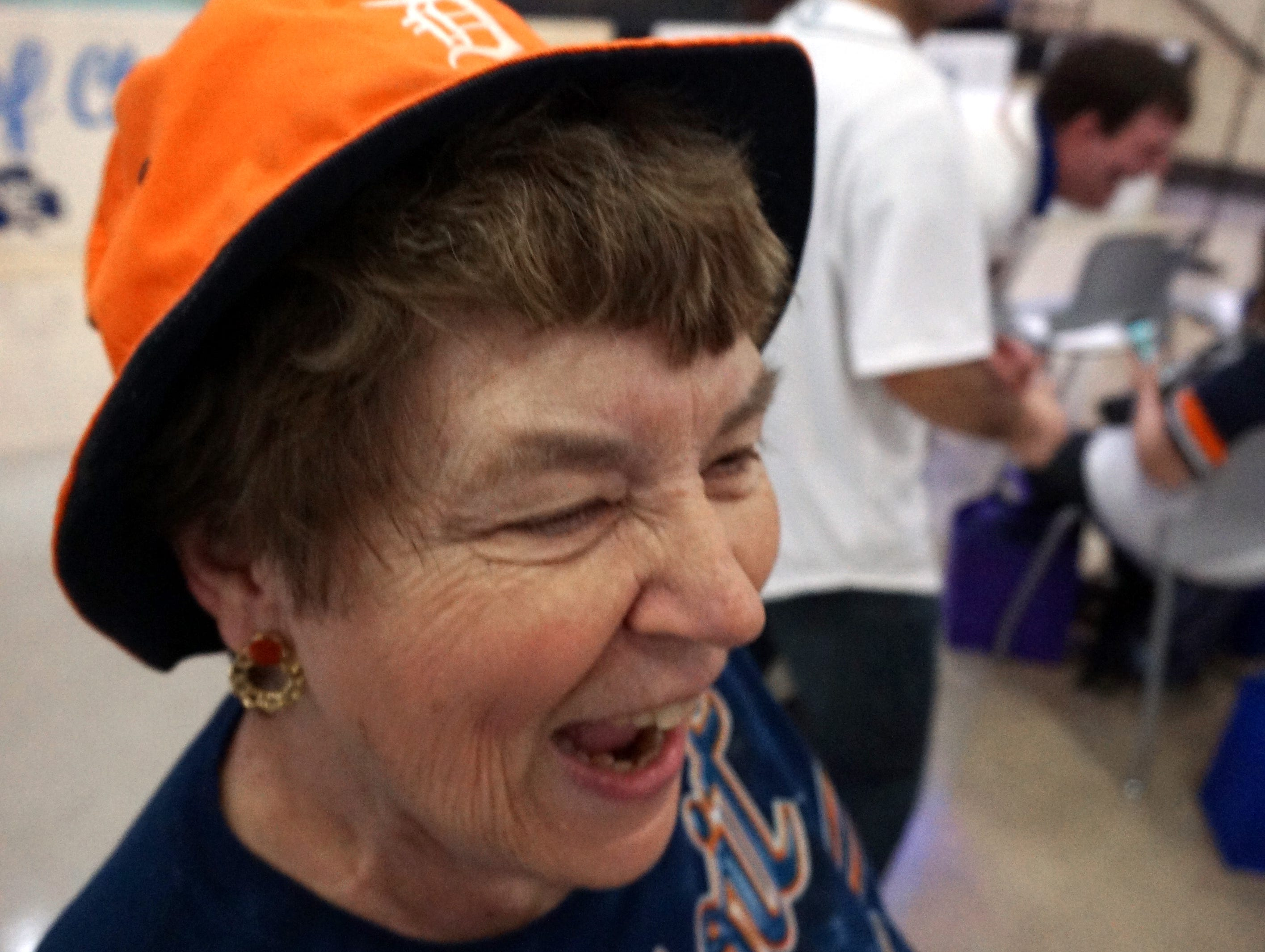 Barb Lewis sports a Tigers hat and shirt as the fan awaits her team's visit to the Novi Civic Center.