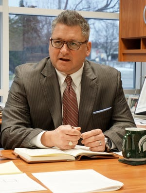 Birmingham Public Schools' Superintendent Mark Dziatczak speaks in his administration office on Jan. 24.