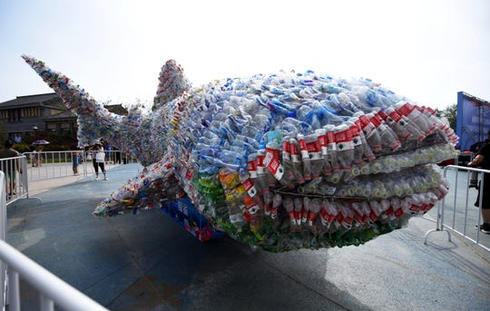 This photo taken on July 21, 2018, shows an installation depicting a whale shark made of plastic bottles in Rizhao Ocean Park in Rizhao, China's eastern Shandong province.