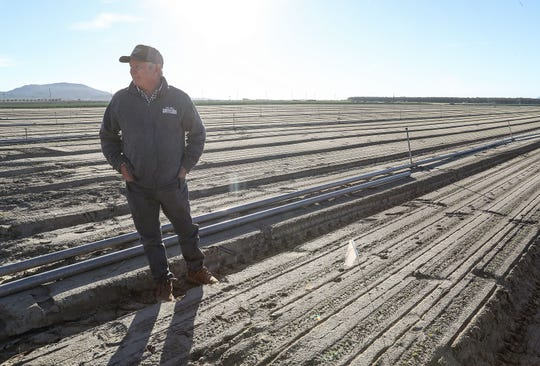 Jeff Percy of Ocean Mist Farms talks about farming automation in a lettuce field near Thermal, Calif., on Jan. 23, 2019.