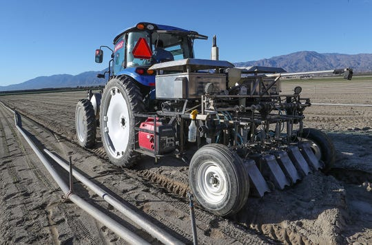 A thinning machine mounted on a tractor thins lettuce seedlings, a job normally done by hand, at an Ocean Mist farm near Thermal, California, January 23, 2019.
