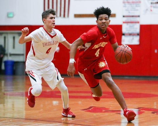 Max Ralph of Palm Desert, shown earlier this year against Palm Springs. The Aztecs lost to Redlands 62-60 in overtime in the first round of the CIF playoffs Friday night.