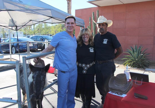 Dr. Timothy Jochen, Annette Garcia, Vice President/Rescue Director, Coachella Valley Horse Rescue and  Dave DiMeno, President, Coachella Valley Horse Rescue