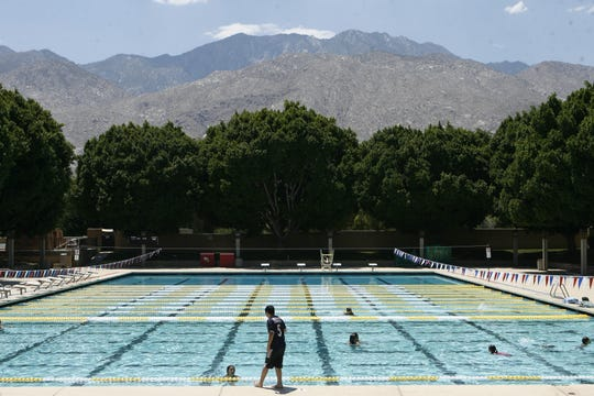 This Desert Sun file photo shows the Palm Springs Swim Center. A unisex shower is among improvements on tap.