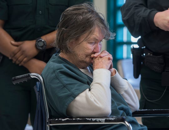 Ramona Lund appears in court for a competency hearing before Judge Darlene Dickey on Thursday, Jan. 24, 2019. Lund is accused of beating her husband to death with a cane.