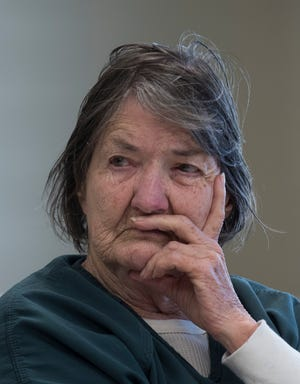 Ramona Lund, 86, appears in court for a competency hearing before Judge Darlene Dickey on Thursday, Jan. 24, 2019.