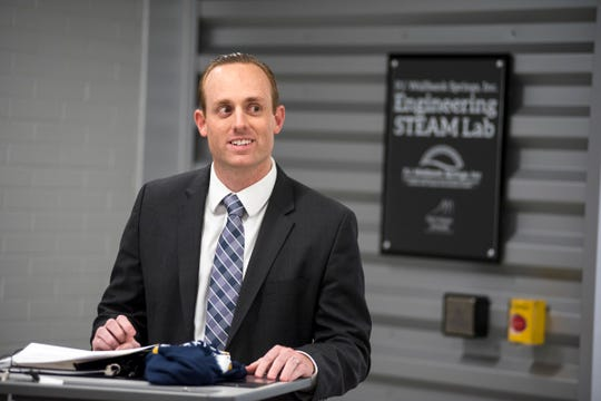 PJ Wallbank Springs Inc. President Chris Wallbank speaks Wednesday, Jan. 23, 2019 at a ribbon cutting ceremony for the P.J. Wallbank Springs, Inc. Engineering STEAM Lab  at Port Huron Northern. The company gave the school district $150,000 to split between Port Huron and Port Huron Northern high schools over the next six years, as well as offering mentorship opportunities to students.