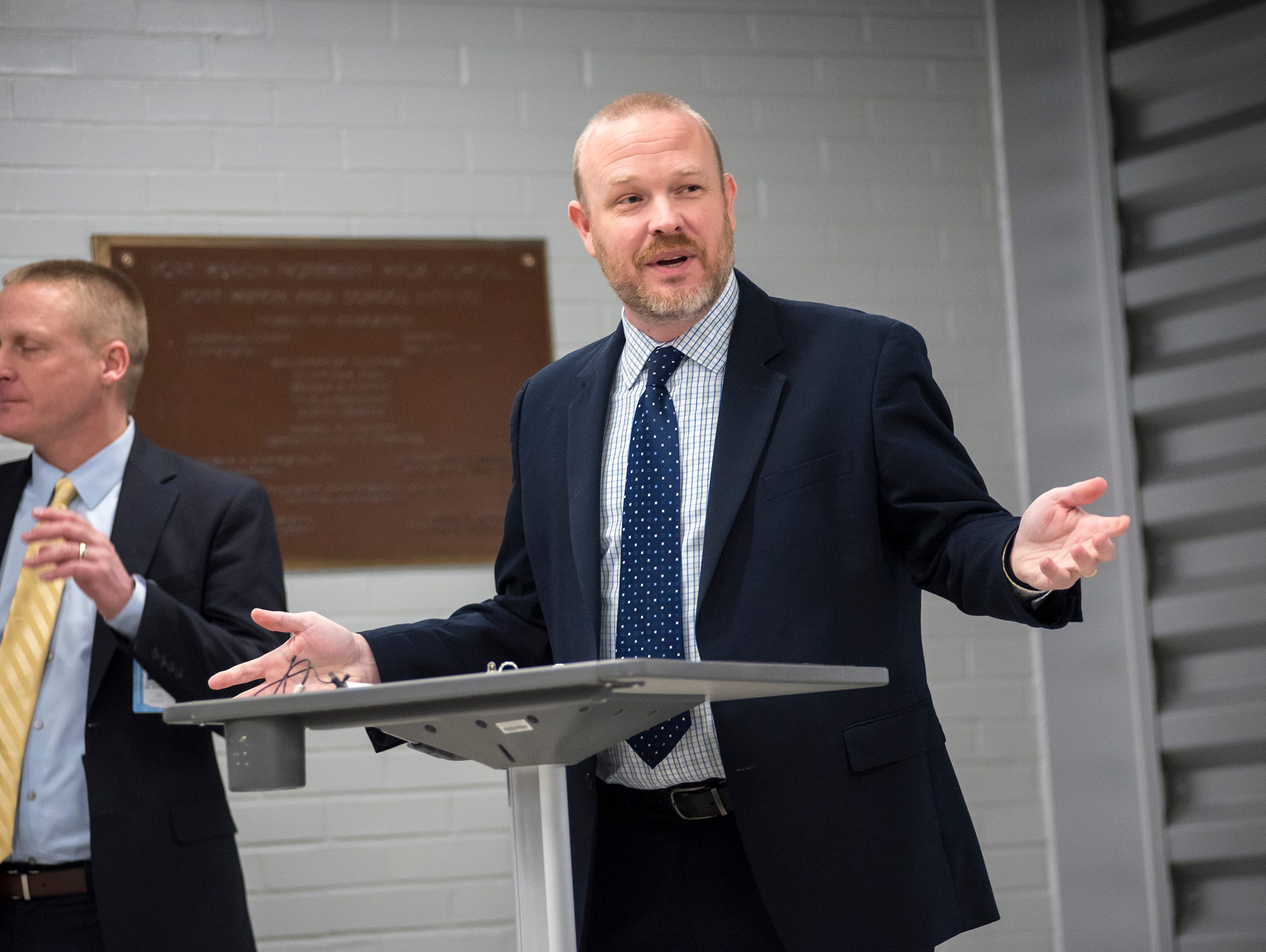Port Huron Schools Superintendent Jamie Cain at a ribbon cutting ceremony for the P.J. Wallbank Springs, Inc. Engineering STEAM Lab  Wednesday, Jan. 23, 2019 at Port Huron Northern.