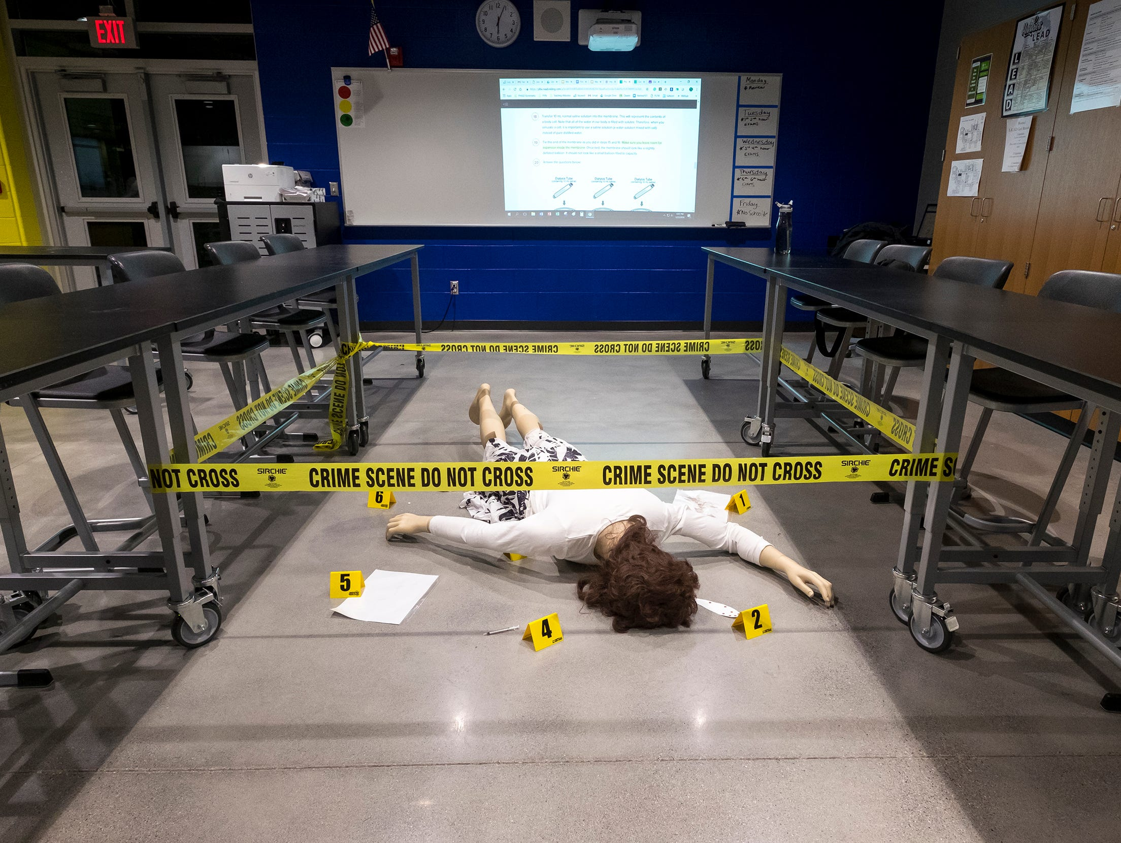 A mockup of a crime scene is set up inside the biomedical lab in Port Huron Northern's new STEAM ab before a ribbon cutting ceremony Wednesday, Jan. 23, 2019.