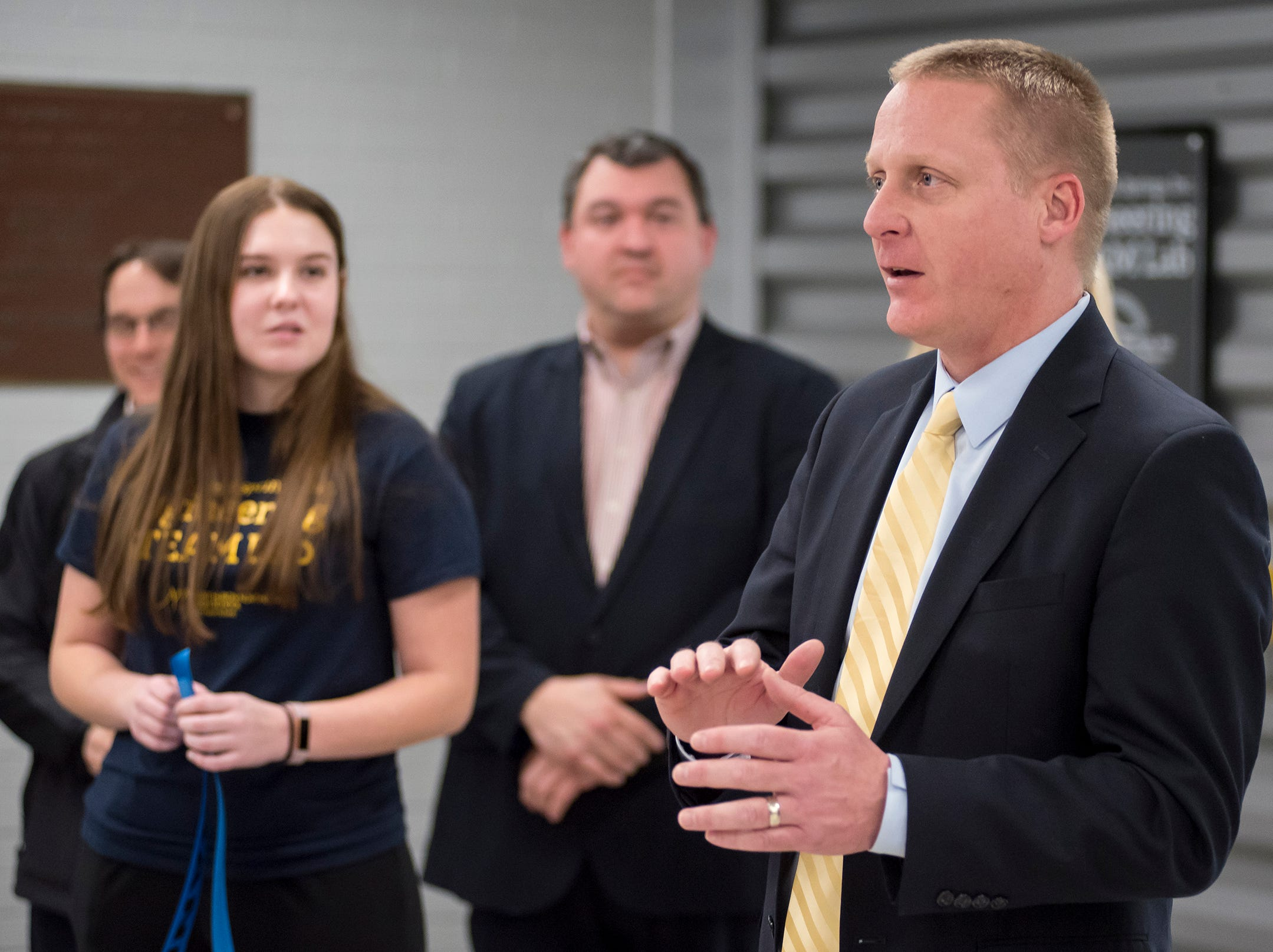 Port Huron Northern Principal Charles Mossett speaks at a ribbon cutting ceremony for the P.J. Wallbank Springs, Inc. Engineering STEAM Lab  Wednesday, Jan. 23, 2019 at Port Huron Northern.