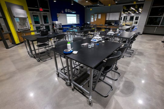 The biomedical lab in Port Huron Northern's new STEAM lab.